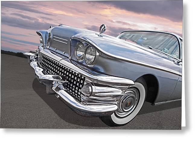 Roadmaster At Sunset Greeting Card by Gill Billington
