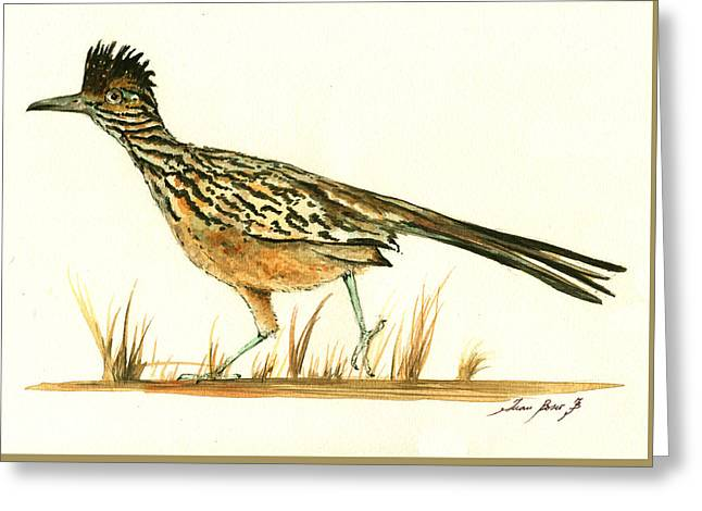 Roadrunner Bird Greeting Card by Juan Bosco