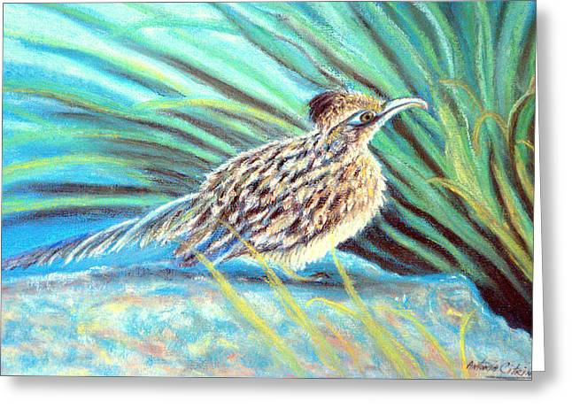 Roadrunner Fluffing Sold   Pastel Greeting Card by Antonia Citrino