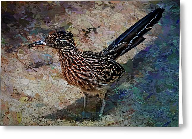 Greeting Card featuring the painting Roadrunner Making Nest by Penny Lisowski
