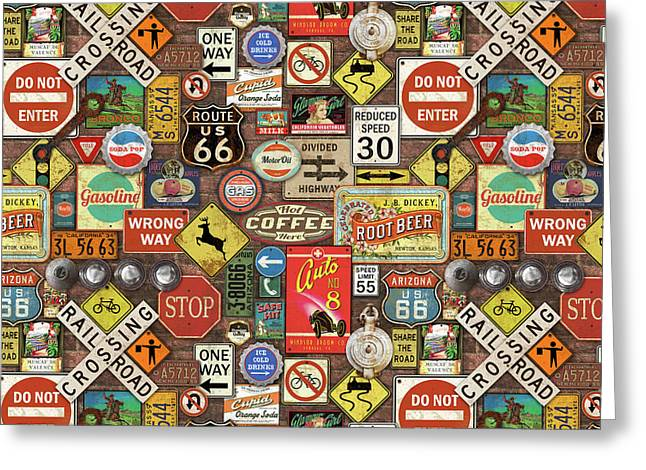 Roads Signs On Brick-jp3957-b Greeting Card by Jean Plout