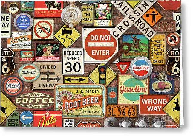 Roads Signs On Brick-jp3957 Greeting Card