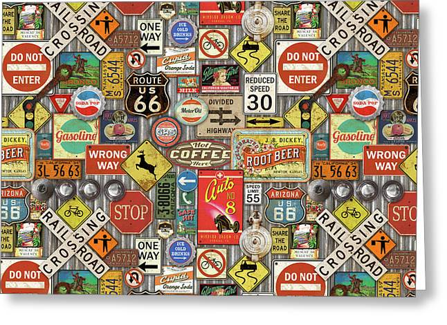 Roads Signs On Steel-jp3959-b Greeting Card by Jean Plout