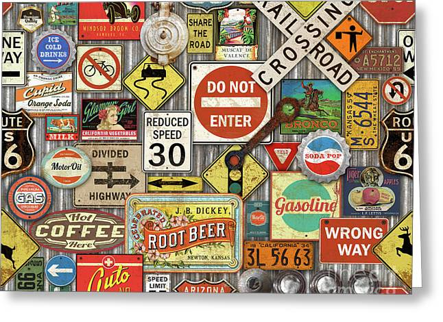 Roads Signs On Steel-jp3959 Greeting Card by Jean Plout