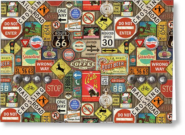 Roads Signs On Wood-jp3958-b Greeting Card by Jean Plout
