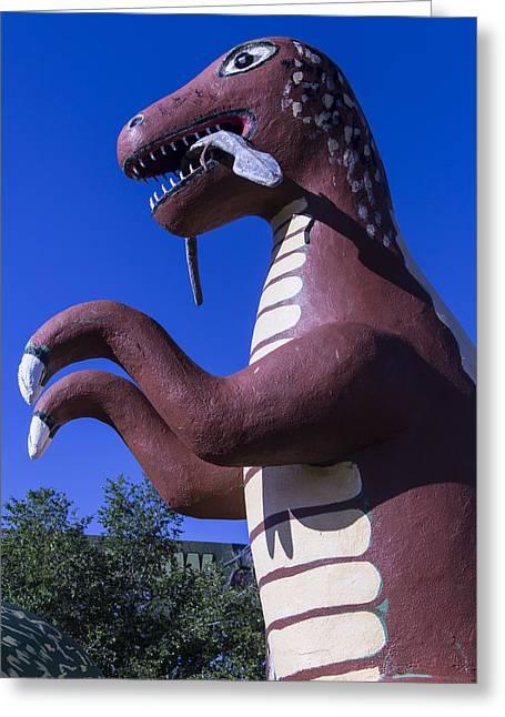 Roadside Dinosaur Greeting Card by Garry Gay