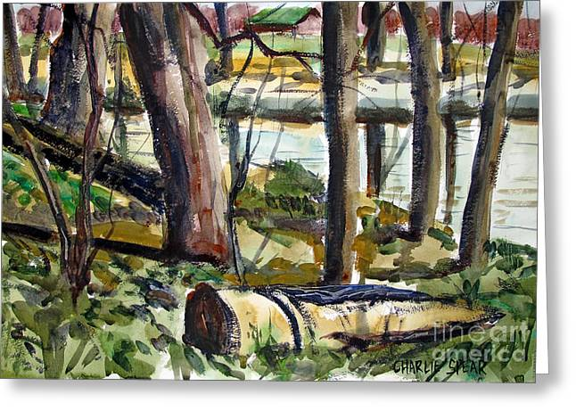 Greeting Card featuring the painting Roadside Park Along The Wabash River by Charlie Spear