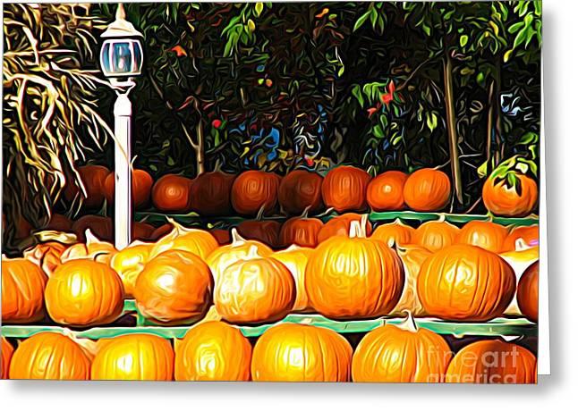 Roadside Pumpkin Stand Expressionist Effect Greeting Card
