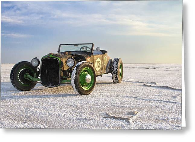 Salt Flat Images Greeting Cards - Roadster on the Salt Flats 2012 Greeting Card by Holly Martin