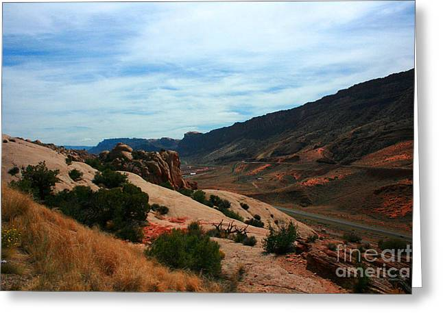 Roadway Rock Formations Arches National Park Greeting Card by Corey Ford