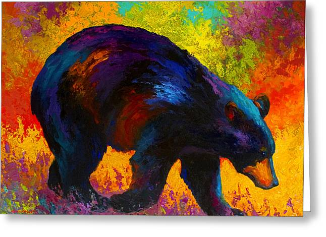 Roaming - Black Bear Greeting Card by Marion Rose