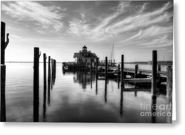 Roanoke Marshes Light Bw Greeting Card by Mel Steinhauer