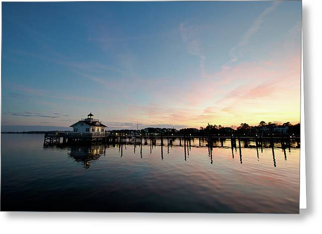 Roanoke Marshes Lighthouse At Dusk Greeting Card
