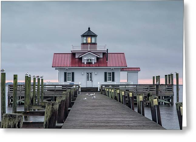 Roanoke Marshes Lighthouse Greeting Card by Cindy Archbell