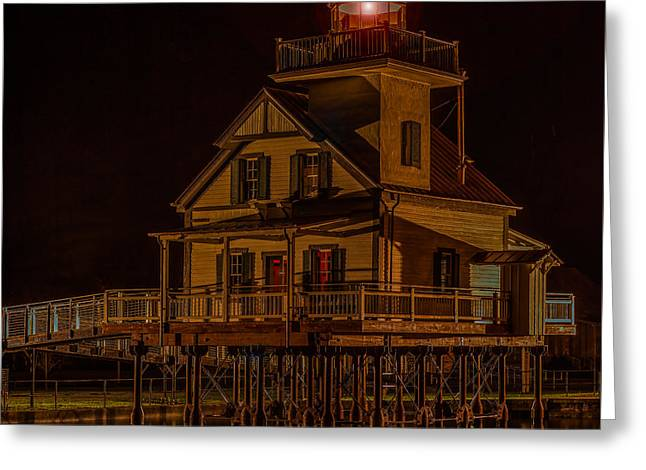 Roanoke River Light Greeting Card by Capt Gerry Hare