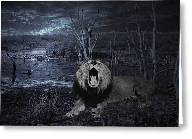 Roar Of The Asiatic Lion  Greeting Card by Manjot Singh Sachdeva