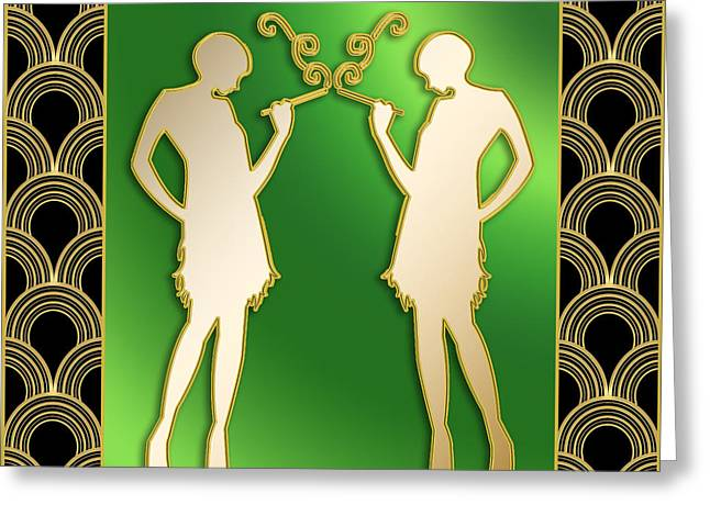 Greeting Card featuring the digital art Roaring 20s Girls - Chuck Staley by Chuck Staley