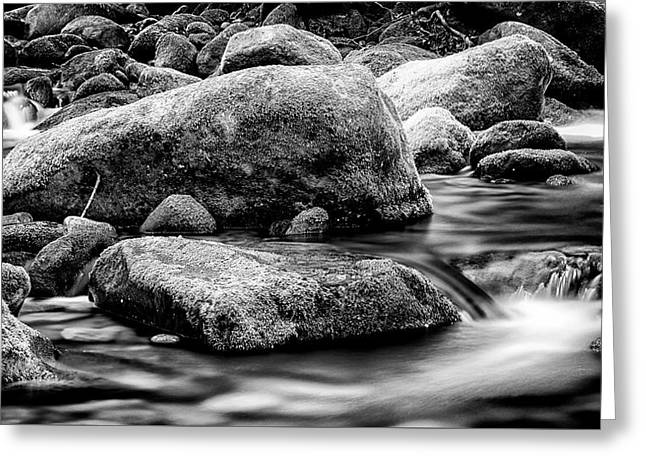 Roaring Fork Mossy Rock - Classic Bw Greeting Card by Stephen Stookey