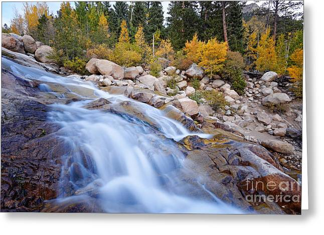 Roaring River Waterfalls At Alluvial Fan - Rocky Mountain National Park - Estes Park Colorado Greeting Card by Silvio Ligutti