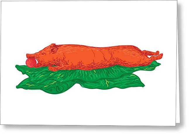 Roast Pig Lechon Banana Leaves Drawing Greeting Card by Aloysius Patrimonio