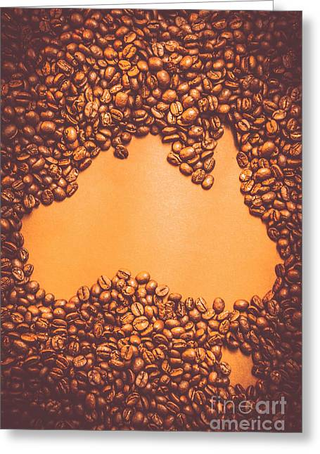 Roasted Australian Coffee Beans Background Greeting Card by Jorgo Photography - Wall Art Gallery