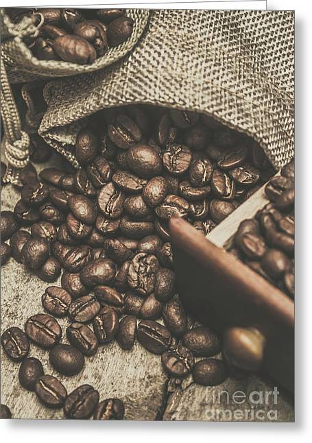 Roasted Coffee Beans In Close-up  Greeting Card by Jorgo Photography - Wall Art Gallery