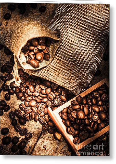 Roasted Coffee Beans In Drawer And Bags On Table Greeting Card by Jorgo Photography - Wall Art Gallery