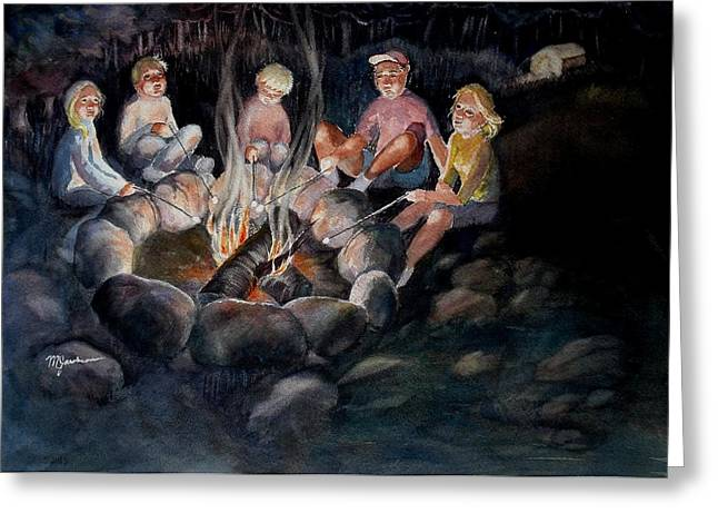 Roasting Marshmallows Greeting Card by Marilyn Jacobson