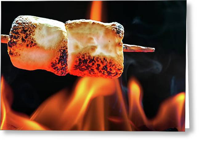Roasting Marshmallows Over Campfire Horizontal Banner Greeting Card