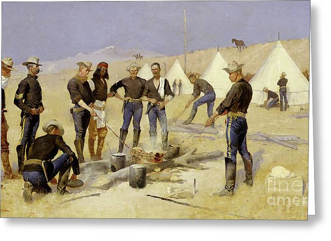 Roasting The Christmas Beef In A Cavalry Camp, 1892 Greeting Card by Frederic Remington
