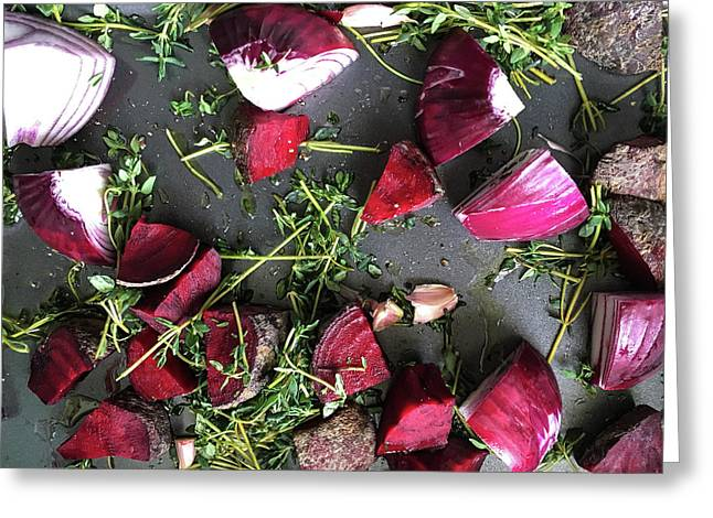 Roasting Vegetables Greeting Card by Tom Gowanlock