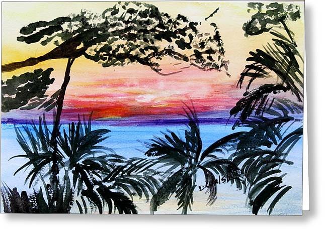 Roatan Sunset Greeting Card