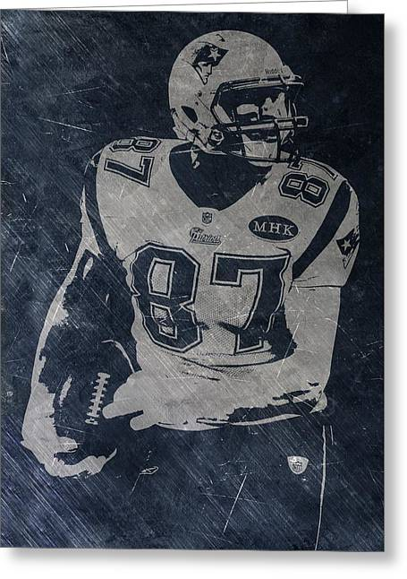 Rob Gronkowski New England Patriots Greeting Card by Joe Hamilton
