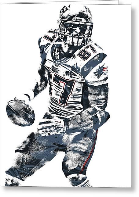 Rob Gronkowski New England Patriots Pixel Art 2 Greeting Card by Joe Hamilton