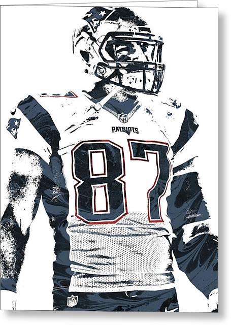 Rob Gronkowski New England Patriots Pixel Art 3 Greeting Card by Joe Hamilton