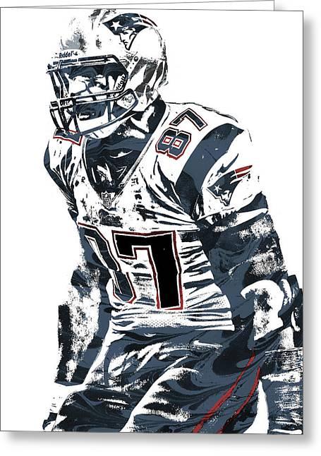 Rob Gronkowski New England Patriots Pixel Art 4 Greeting Card by Joe Hamilton