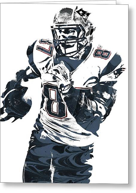 Rob Gronkowski New England Patriots Pixel Art 5 Greeting Card by Joe Hamilton