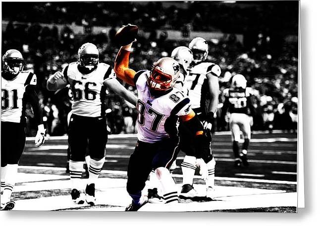 Rob Gronkowski Touchdown Greeting Card by Brian Reaves