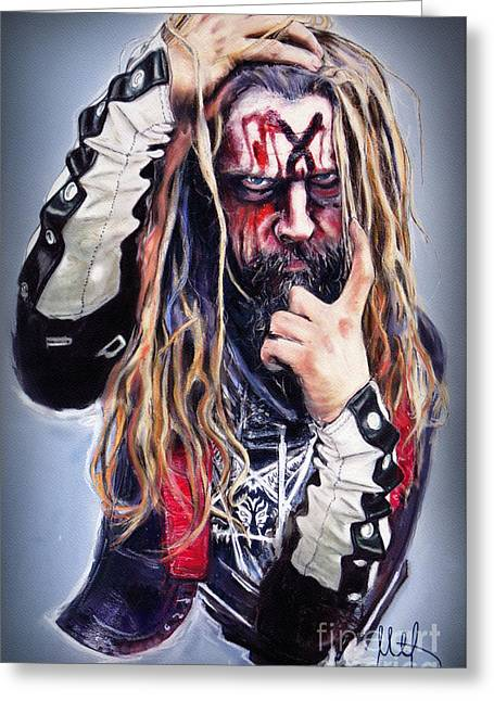 Rob Zombie Greeting Card by Melanie D