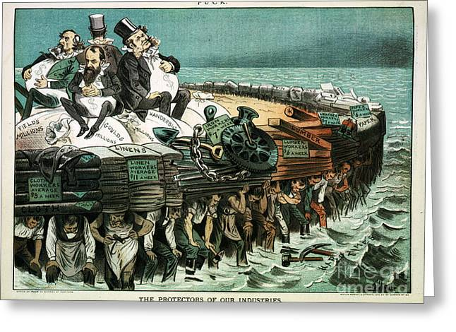 Robber Barons Crushing Workers Greeting Card