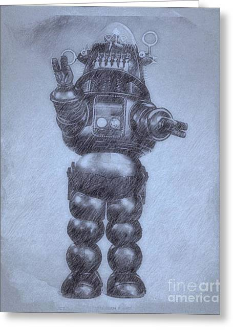 Robbie The Robot From Forbidden Planet By John Springfield Greeting Card by John Springfield
