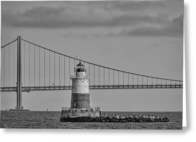 Robbins Reef Light Bw Greeting Card