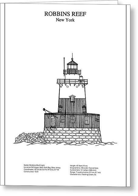 Robbins Reef Lighthouse - New York - Blueprint Drawing Greeting Card by Jose Elias - Sofia Pereira