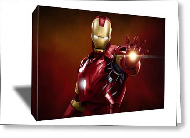 Robert Downey Jr As Iron Man Canvas Art Greeting Card by Artwrench Dotcom