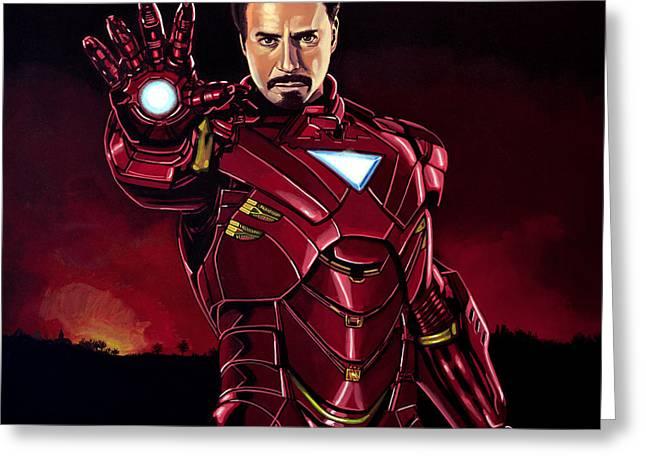 Robert Downey Jr. As Iron Man  Greeting Card