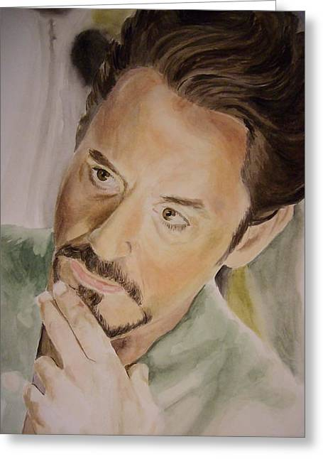 Robert Downey Jr Iron Man Greeting Card by Angela Schwengler