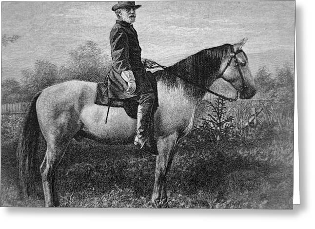 Robert E Lee On His Horse Traveler Greeting Card