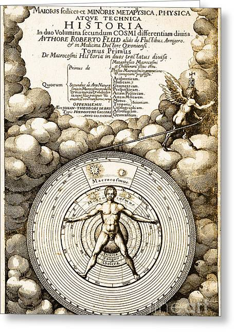 Robert Fludds Book On Metaphysics, 1617 Greeting Card by Science Source