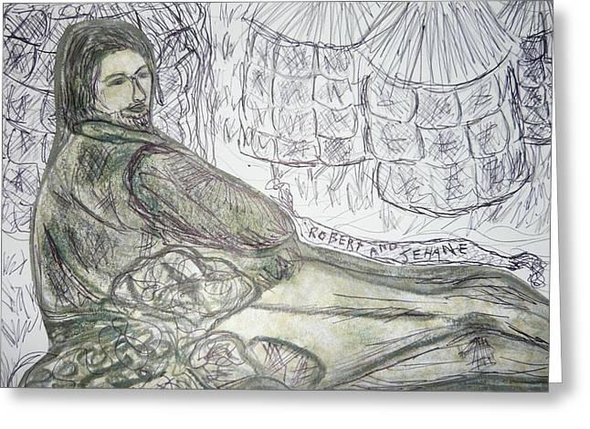 Robert From Poem Haystacks In The Flood Greeting Card by Adrianne Wood