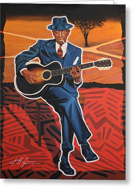 Robert Johnson Blues Legend Greeting Card by Karl Melton